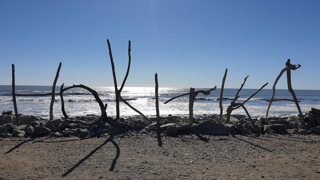 Driftwood sign Hokitika