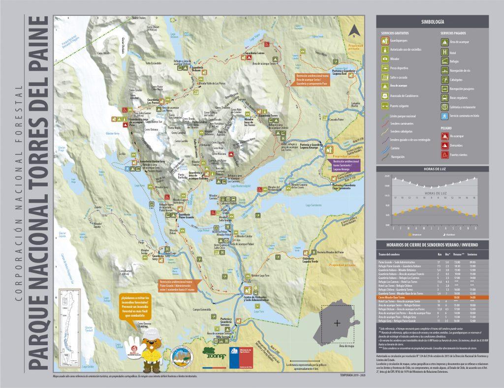 plan parc national Torres del Paine accessible depuis Puerto Natales